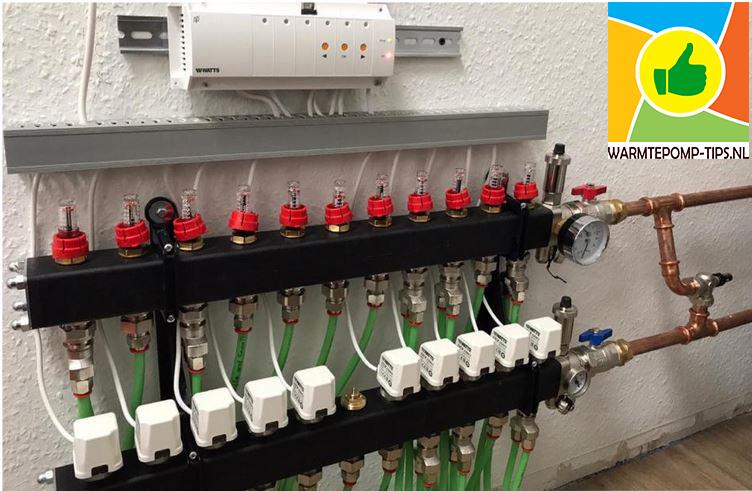 Vloerverwarming warmtepomp met na-regeling en bypass